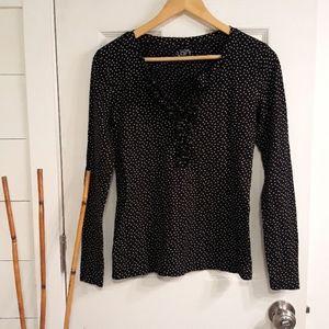 Ann Taylor Loft  long sleeved polka dot top